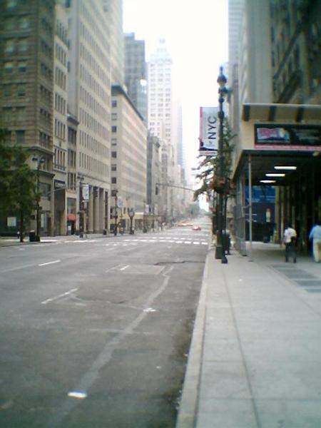 Fifth Avenue and 42nd Street on a Sunday morning