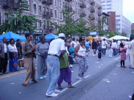 Harlem street party dancers